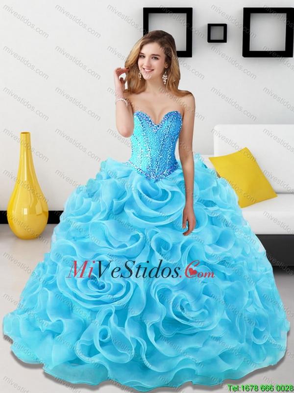 Vestidos de 15 azul agua