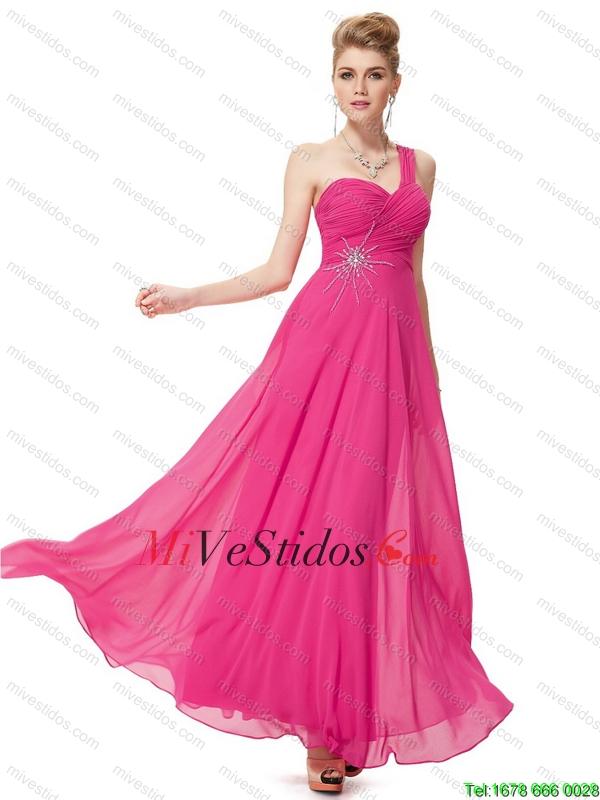 Imperio moderno de un hombro vestidos de baile con rebordear - €109.25