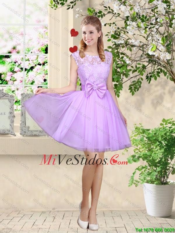 Sofisticados Una Línea lavanda vestidos de dama de honor con encaje ...