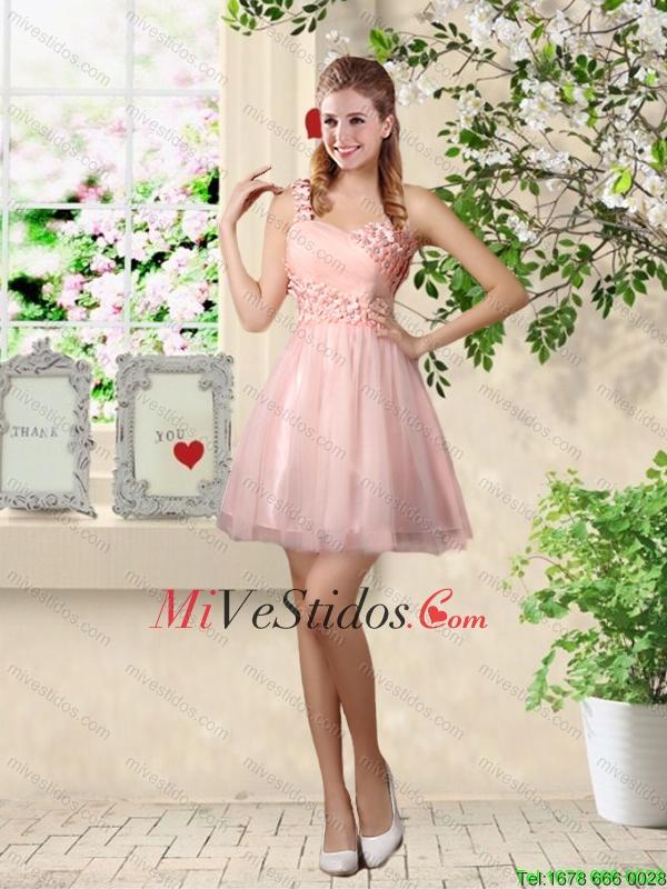 Asequible Una línea de un hombro Apliques vestidos de dama en rosa ...