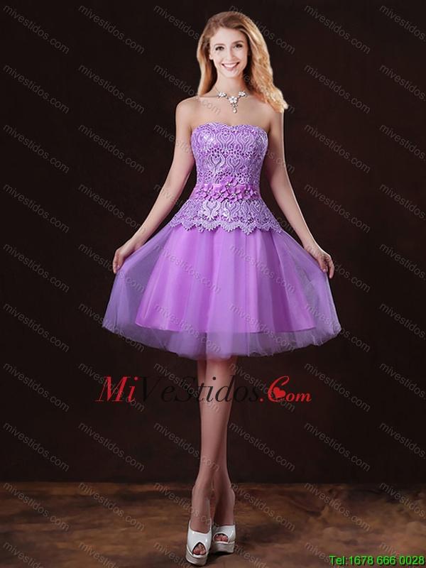 2016 populares atado lila vestidos de dama de honor con una línea ...