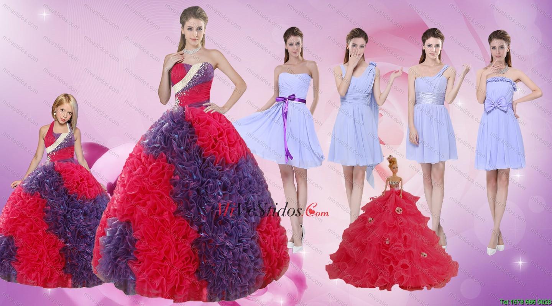 Elegante Longitud Multi Color Piso Quinceañera vestido y acanalaba ...