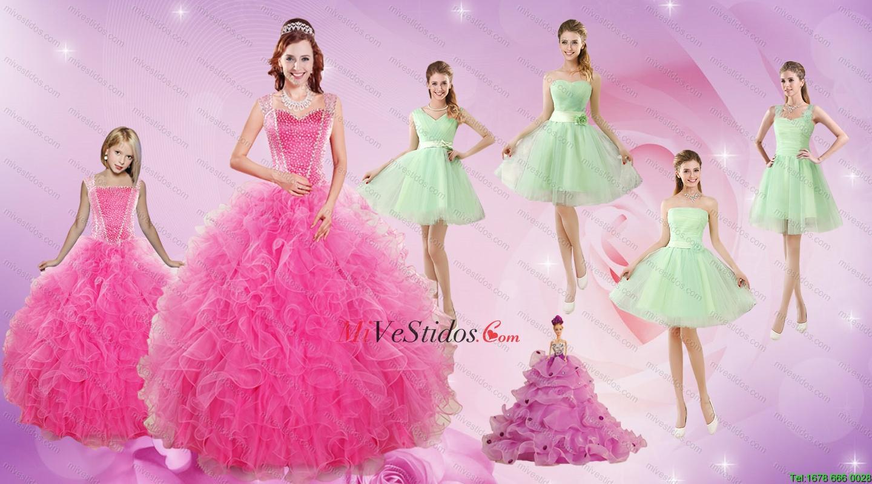 Hermosas Volantes y rebordear vestido de quinceañera y manzana verde ...