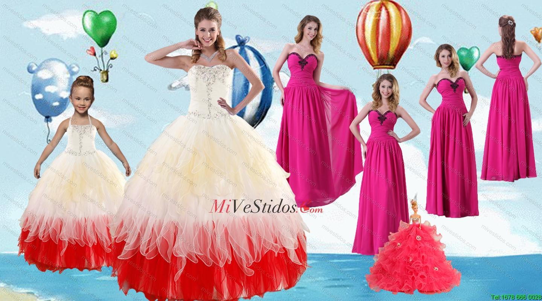 Rebordear multicolor vestido de quinceañera y rosado brillante del ...