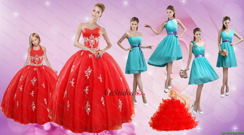 2015 Apliques elegante vestido de quinceañera Rojo y turquesa cortos ...