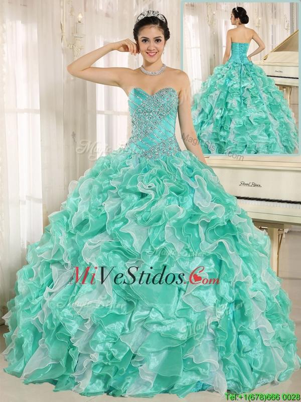 7f4456071 €450.24 €186.90  Rebordear Moderno y Volantes de Apple Verde Vestidos de  quinceañera