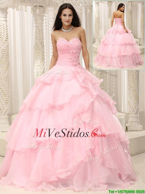 Hermosas rosas bebés Vestidos de quinceañera con Volantes Bordoneado ...