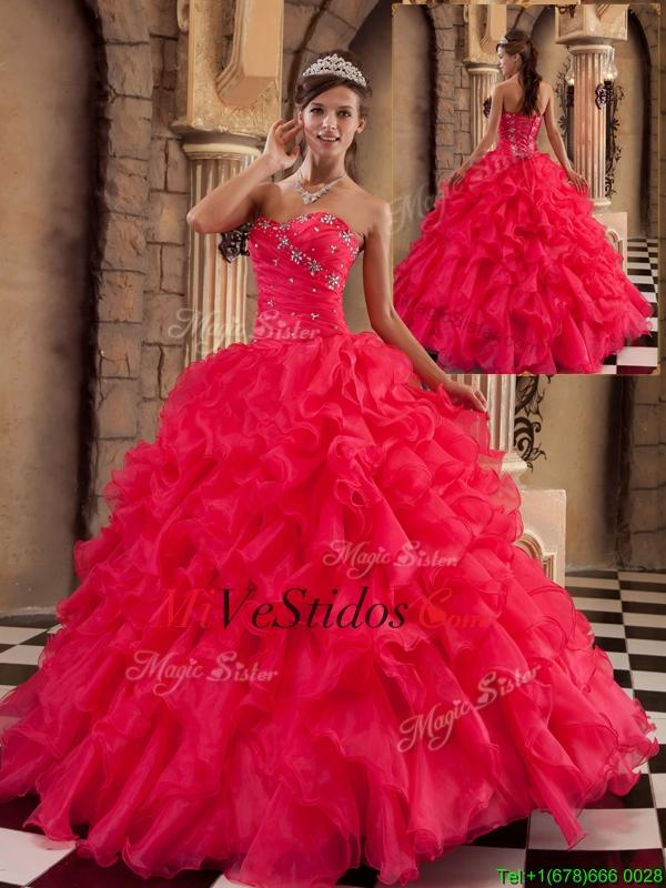 3ce2bbc94d ... Vestidos De Quinceaños Modernos · Popular Coral Rojo novio Quinceañera  Vestidos con rebordear. triumph
