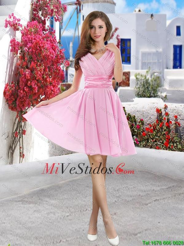 Descuento V cuello corto vestidos de dama en azul real - €75.64