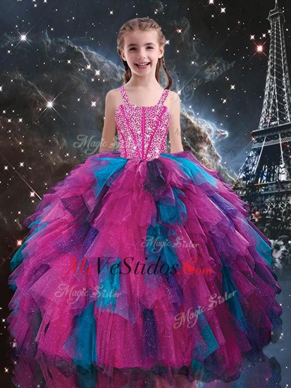 Bastante correas y acc Multi Color de la niña desfile vestidos para ...