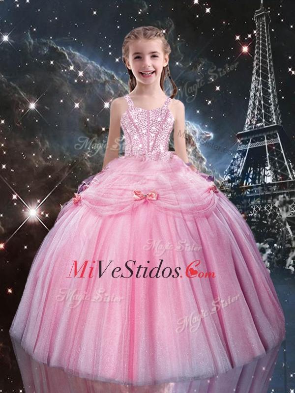 Dulce Vestido de bola correas rosadas y acc Niña desfile vestidos ...