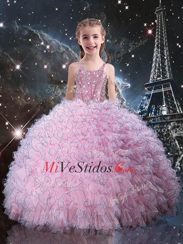Moda correas Niña vestido desfile con apliques en rosa - €137.27