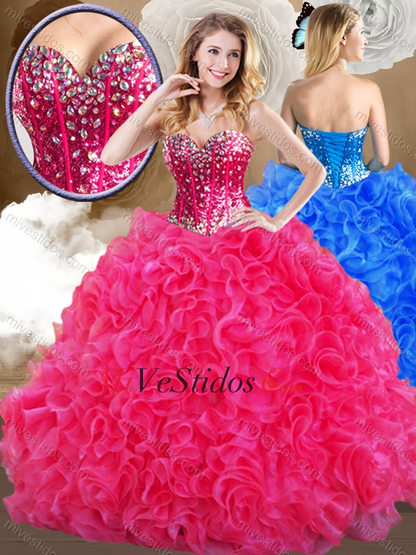 d70750242d Hermosas de novia rosas fuertes quinceañera Vestidos con volantes. triumph