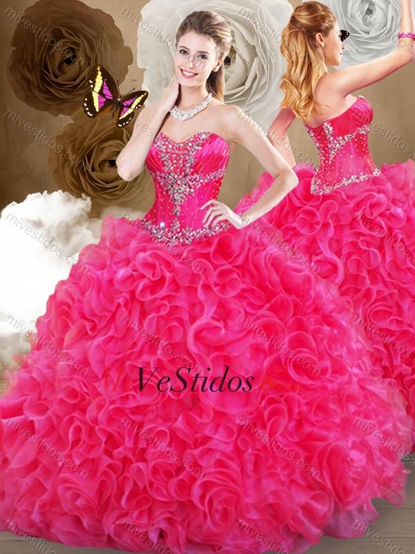 Bonito Vestido De Fiesta Color De Rosa Caliente Bosquejo - Ideas de ...