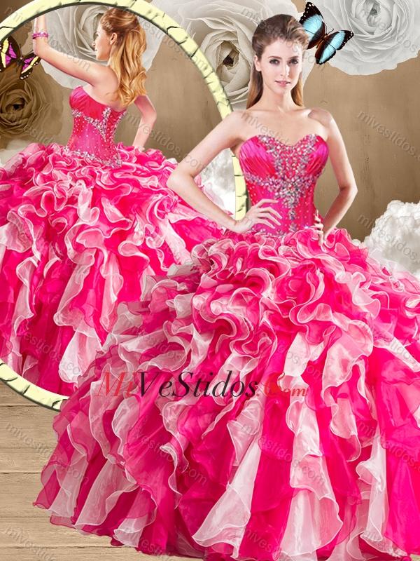 49c4e23b5e 2016 Elegante del amor Multi color de quinceañera con Volantes Vestidos.  triumph