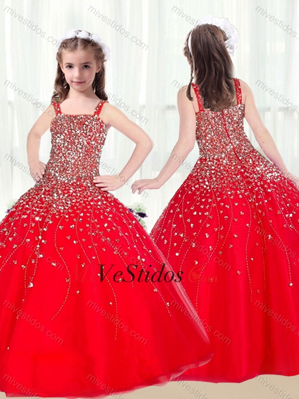 2016 Vestido Lindo De La Bola De Las Correas De Acc Rojo