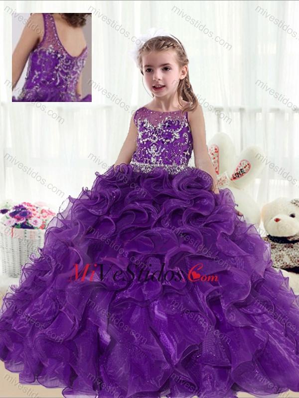 2016 de moda del vestido de bola que rebordea y Ruffles Niña desfile ...