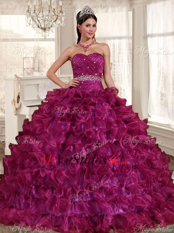Gorgeous rizado y con cuentas fucsia Quinceañera vestido y atado de ...