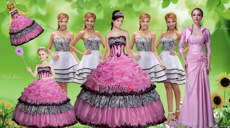 Lujoso apliques Zebra Rosa Rosa vestido de quinceañera y blanco sin ...