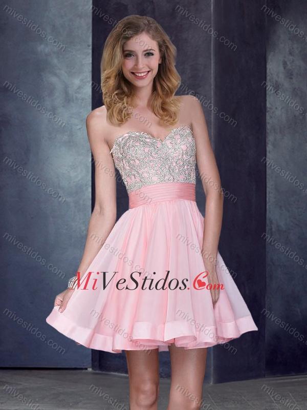 Nuevo estilo corto de novia rosa de bebé vestido de baile con ...