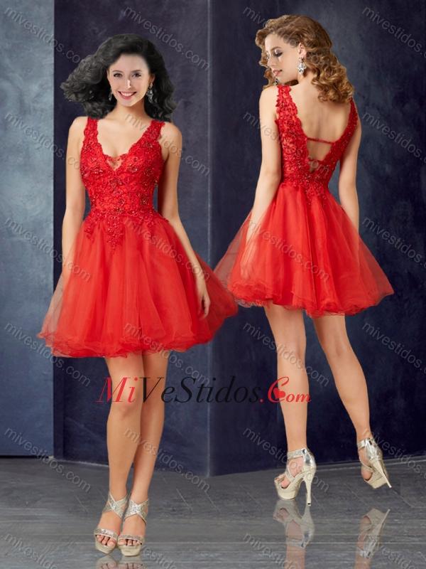 brillo encantador mayor descuento paquete de moda y atractivo Hermosa V profundo escote de tul vestido rojo de fiesta con ...