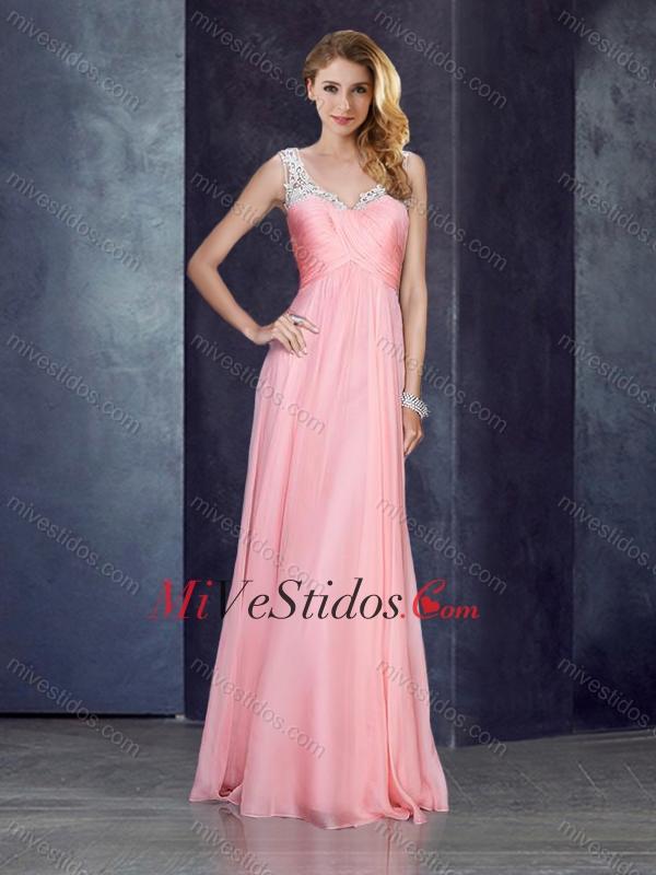 V cuello apliques bebé vestido de fiesta rosa con ver a través de ...
