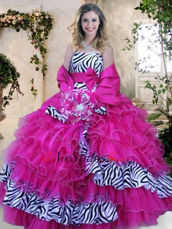 Sin tirantes de cebra y Rosa Caliente Vestidos 15 Años con Volantes ...