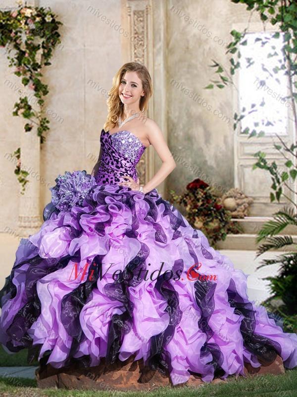 Leopard y rizado lavanda y Púrpura Oscuro Vestidos 15 Años con ...