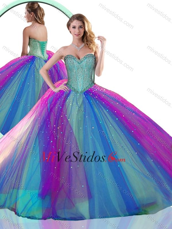 Colorido multicolor vestido de quinceañera con rebordear - €202.13