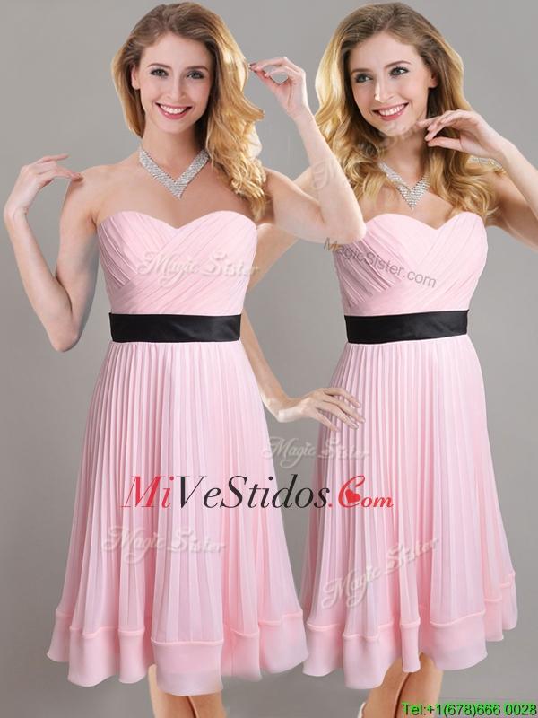 Descuento imperio plisada y Negro cinturón Dama vestido en rosa de ...