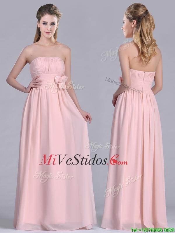 Gasa moderna artesanales Flores largo vestido de dama de rosa de ...