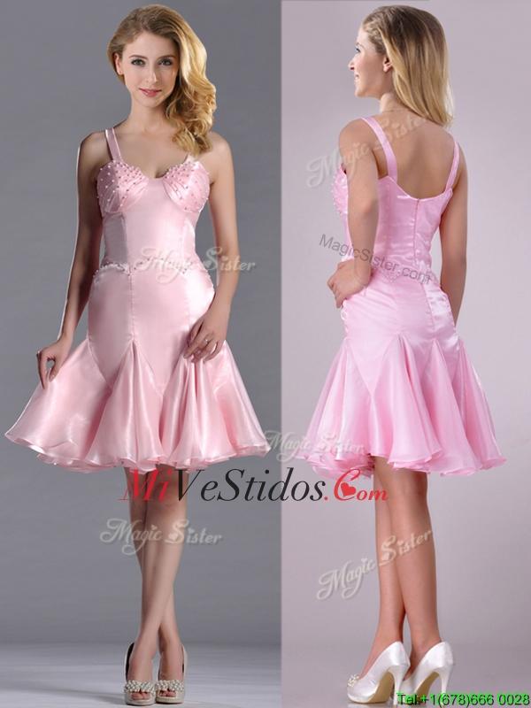 Precioso Busto con cuentas correas corto vestido de dama de rosa de ...