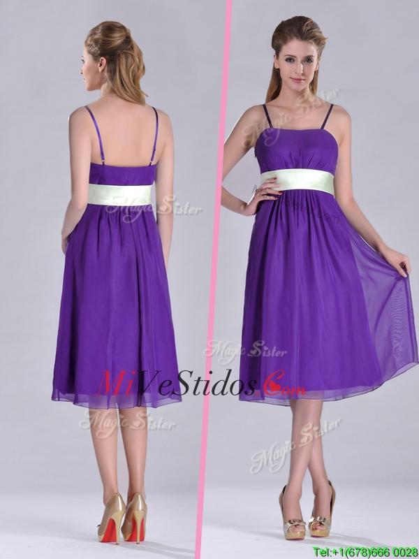 Romántica correas espaguetis con cinturón Berenjena vestido púrpura ...