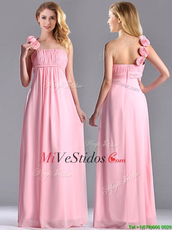 Nuevo estilo de Bebé rosa Vestido Dama con Artesanal Flores Decorado ...