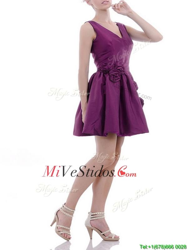Vestido exquisito cuello en V tafetán púrpura Dama con artesanales ...