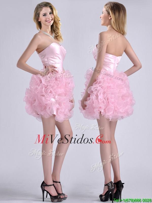 Novio Modesto enrollables Flores corto vestido de dama de rosa de ...