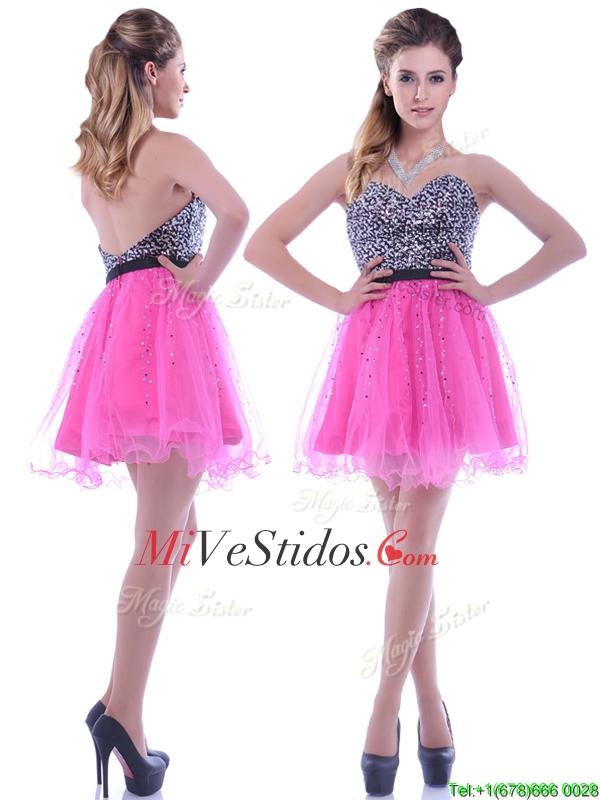 Moderno lentejuelas adornado blusa de organza rosa caliente vestido ...