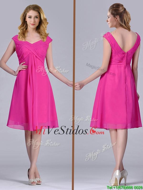 Rosa caliente imperio de la rodilla-longitud gasa Fruncido Vestido ...