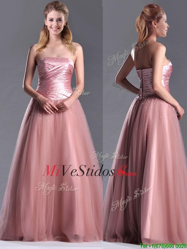 Elegante una línea de tul con cuentas vestido largo Dama en ...