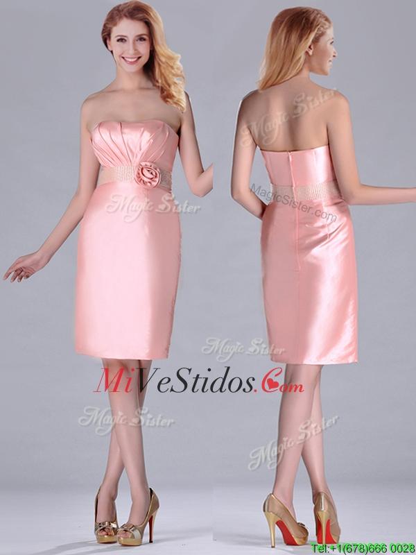 Corto longitud de la rodilla sin tirantes vestido rosa Dama con ...