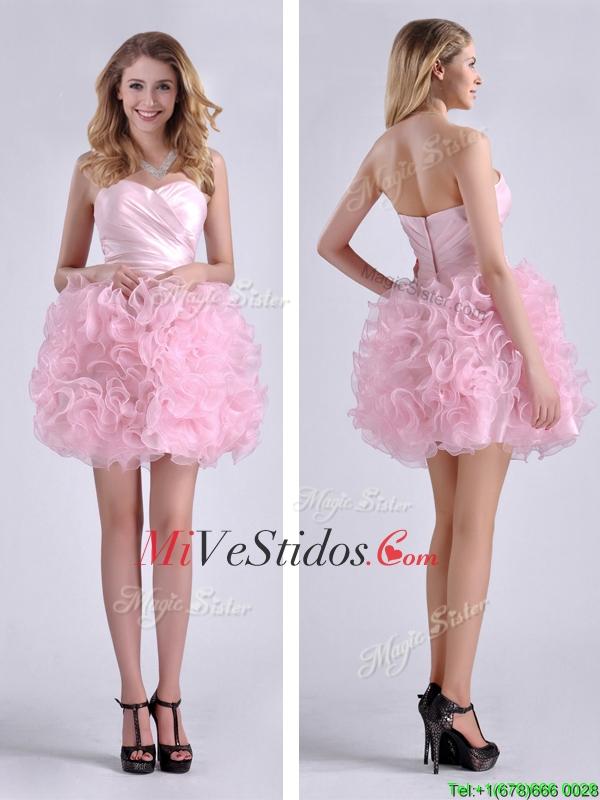 Dulce balón vestido con pliegues Bebé rosa corto vestido de dama en ...