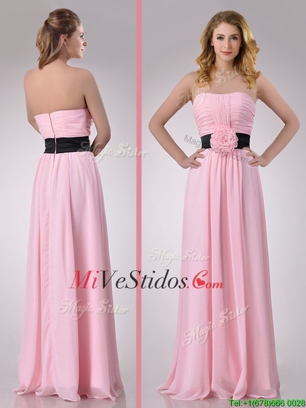 Imperio Gasa Moderno vestido rosa largo Dama con Artesanos Flor ...