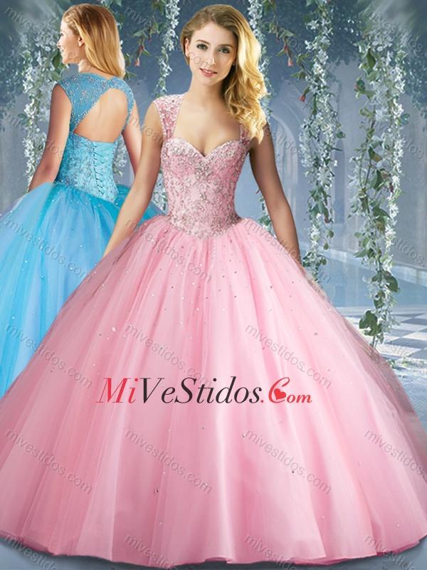 Precioso Grande Rosa Hinchado con cuentas vestido de quinceañera con ...