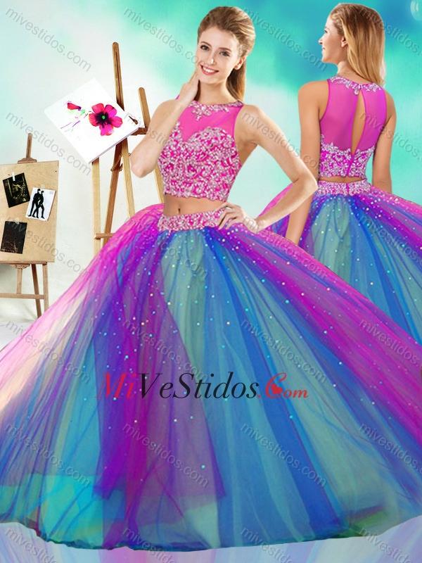 672d8aa8f Arco iris grande de color Puffy desmontable vestido de quinceañera con ver  a través de. triumph