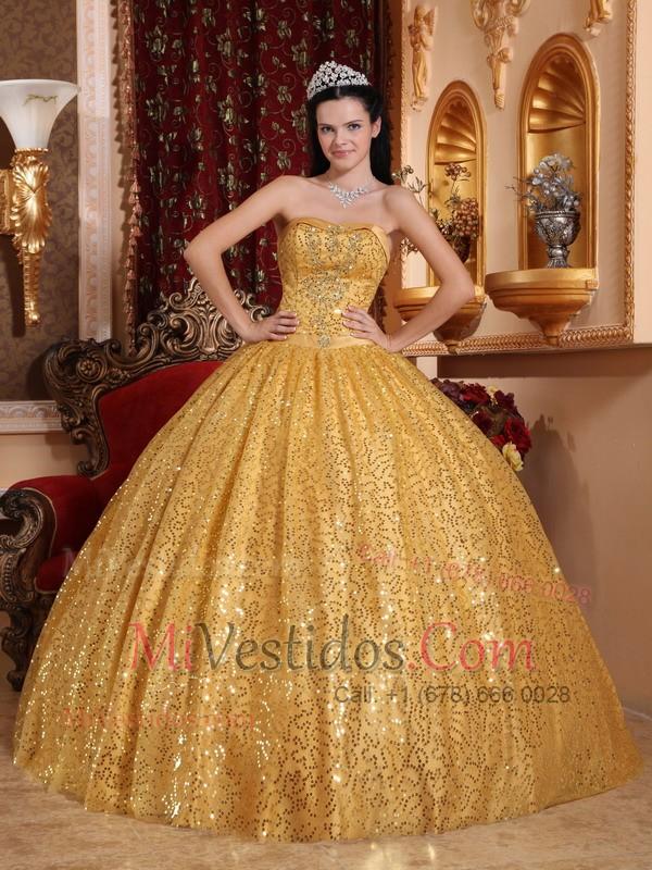 Vestido Color Oro New Quinceanera Dresses