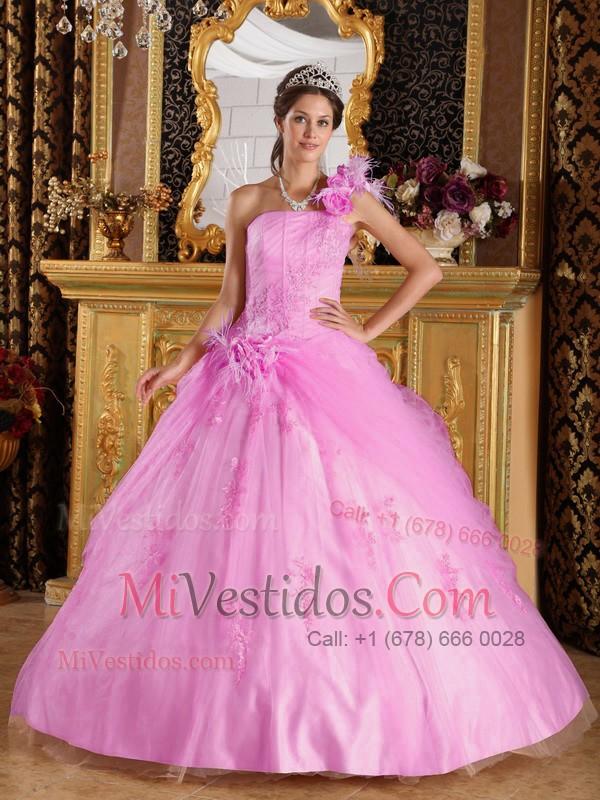 Rosa Vestido De Fiesta Un Sólo Hombro Hasta El Suelo Tul Vestido De ...