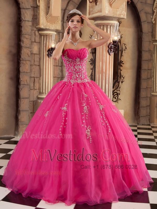 Caliente Rosa Vestido De Fiesta Hasta El Suelo Organdí Bordado ...