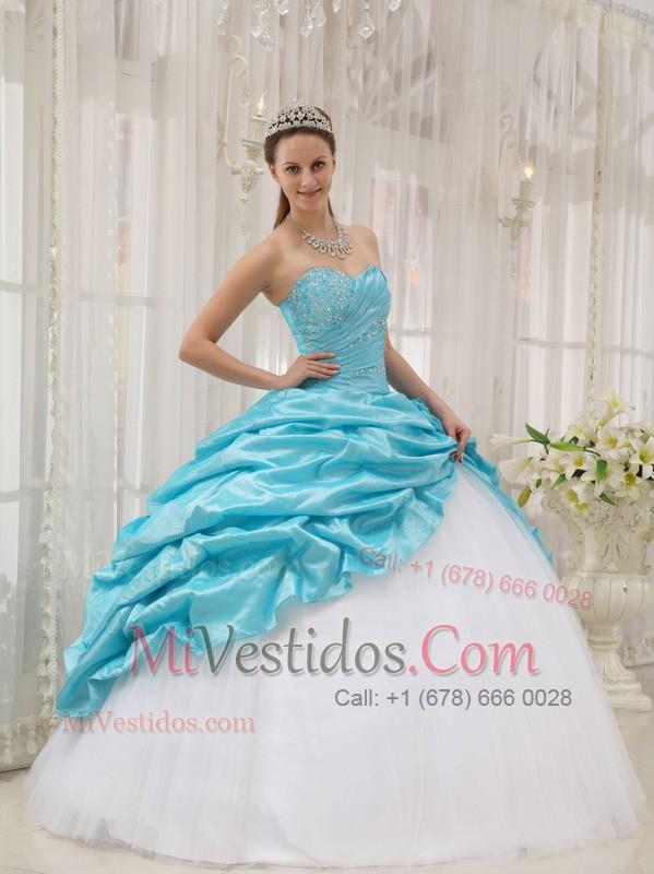 c21e23cde Azul Aqua Vestido De Fiesta Dulceheart Hasta El Suelo Tafetán Y Tul Bordado  Vestido De Quinceañera. triumph