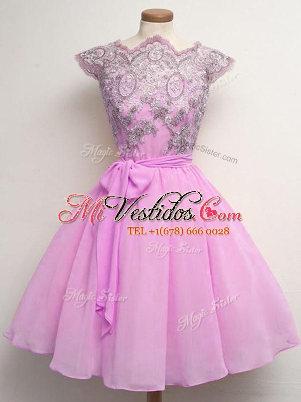 Hermosos lila a-line de encaje y cinturones vestidos de dama de ...