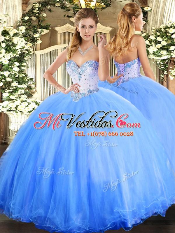 f09f12ff66 vestidos de baile azul cielo sin mangas de tul longitud del piso con ...